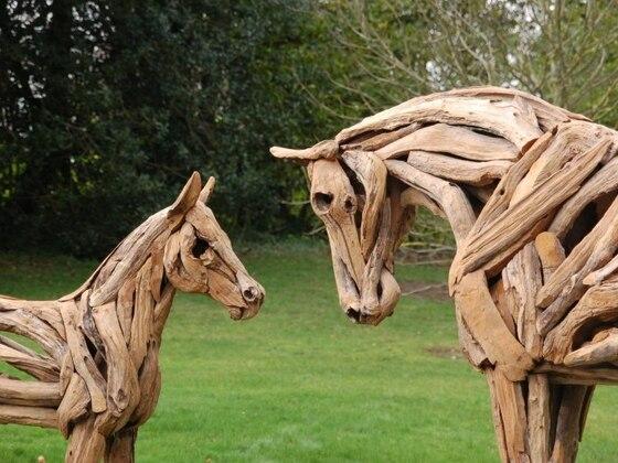 Driftwood Art Horses