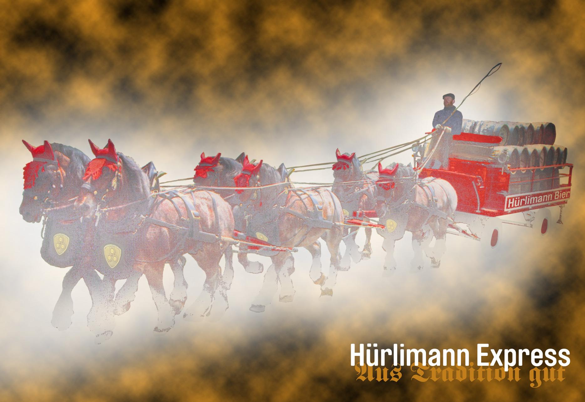 Hürlimann Express, Feldschlösschen, Pferde, Swiss Brew, Swiss Beer, Horses Brewing Company, Brauereigespann, Oktoberfest, Kutsche Schweiz,  Bier Express, Beer Express,